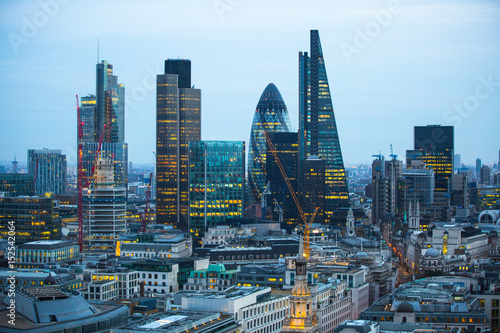 Keuken foto achterwand Stad gebouw City of London business aria view at sunset. City of London the leading financial centre in the Europe.
