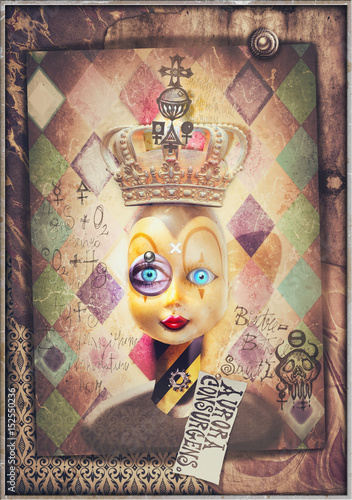 Garden Poster Imagination Mask of pierrot with crown and alchemical symbols