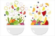 Vegetable Bowl. Fruit Bowl. Slices Of Vegetables. Flat Design.