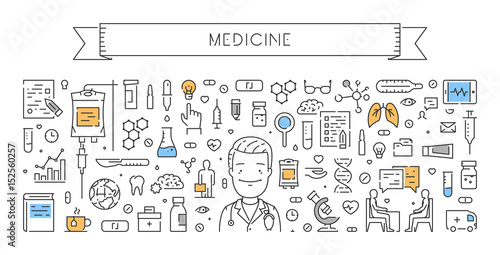 Photo Line web banner for medicine and hospital