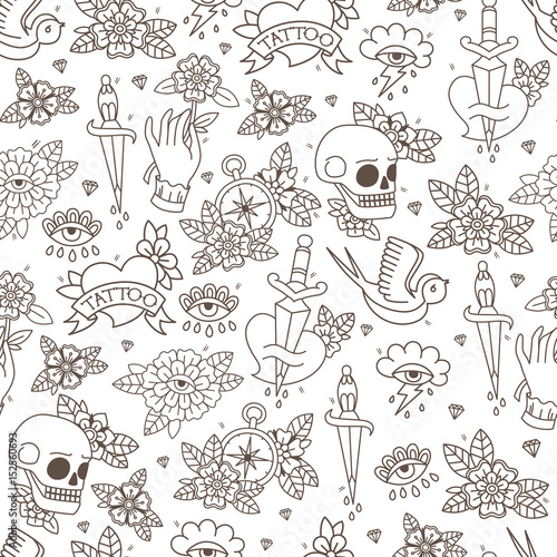 Seamless Doodle Pattern. Traditional Old School Tattoo. Vector background.