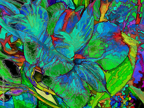Vibrant and colorful fantasy abstract of lilies. Canvas Print