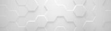 White Wide Hexagon Background (Site Head) (3d Illustration)