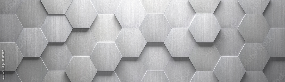 Fototapety, obrazy: Wide Brushed Metal Hexagon Background (Site head) (3d illustration)