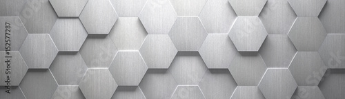Poster Metal Wide Brushed Metal Hexagon Background (Site head) (3d illustration)