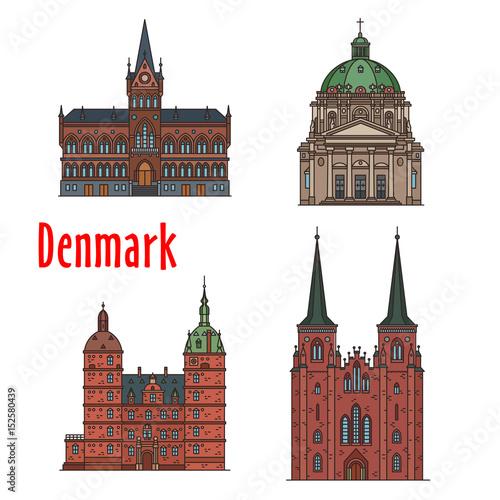 Photo  Travel landmark of Kingdom of Denmark icon set