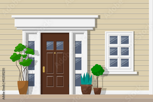 House Facade With Front Door Window Potted Plants Exterior Design Buy This Stock Vector And Explore Similar Vectors At Adobe Stock Adobe Stock,Architectural Design Phases Percentages