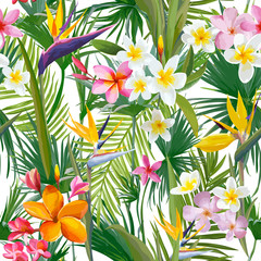 Fototapeta Liście Tropical Palm Leaves and Flowers, Jungle Leaves Seamless Vector Floral Pattern Background