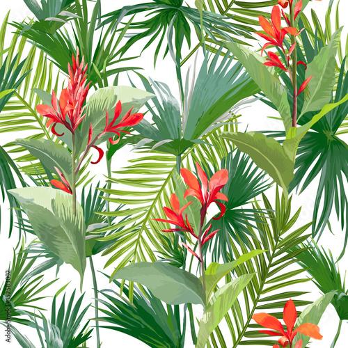 Fototapeta tropikalne liście palmowe i kwiaty