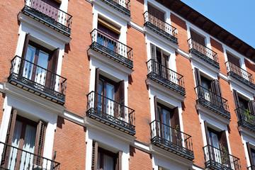 Windows of building in Madrid