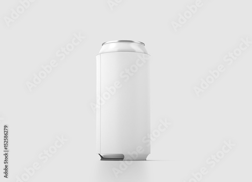 blank white collapsible beer can koozie mock up isolated 500 ml
