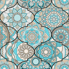 Panel Szklany Ornamenty Patchwork pattern. Vintage decorative elements. Hand drawn background. Islam, Arabic, Indian, ottoman motifs. Perfect for printing on fabric or paper.