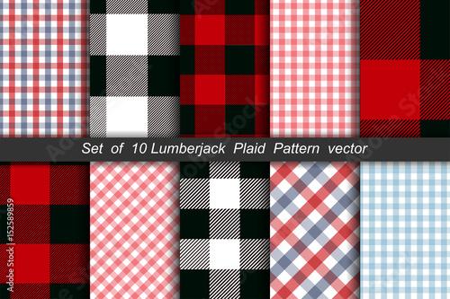 Obraz Set of 10 Lumberjack plaid pattern vector - fototapety do salonu