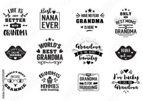 Fotografia, Obraz Best grandma handwritten in black