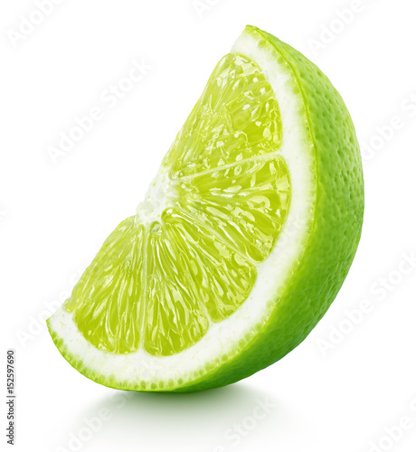 Fotografering Ripe slice of green lime citrus fruit stand isolated on white background with cl