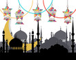 Ramadan Kareem. Greeting card. Stylized drawing of the month, the silhouette of the eastern city and lanterns on the chains. Cut out of paper. illustration