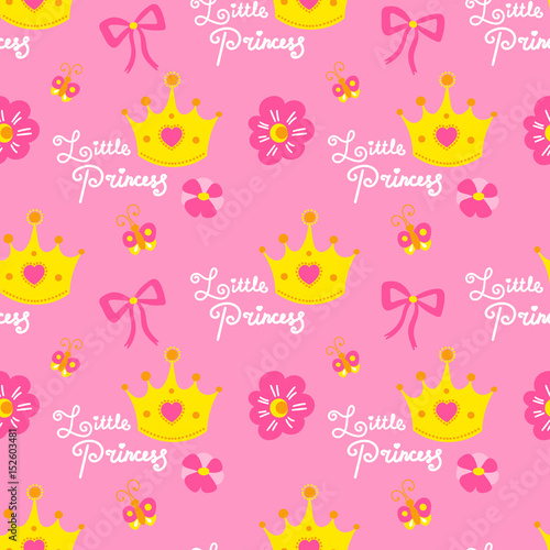 Pink Little Princess Pattern Vector Cute Background For Template Birthday Card Baby Shower Invitation Wallpaper And Fabric Baby Girl Print With Crowns Hearts Flowers Bows And Butterflies Buy This Stock Vector