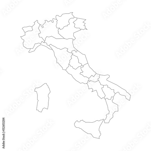 Map Of Italy Black And White.Map Of Italy Divided Into 20 Administrative Regions White Land And