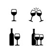 Icon set pictogram with wine glasses and bottles, clink glasses