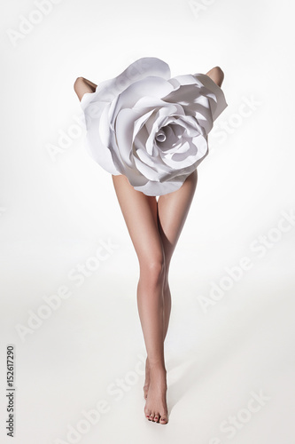 Poster Akt lady flower.beautiful woman legs