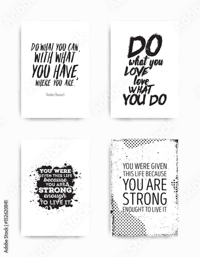 Staande foto Positive Typography Set posters quote