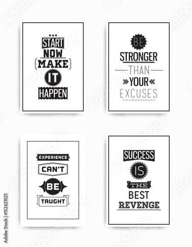 Staande foto Positive Typography Set posters quote