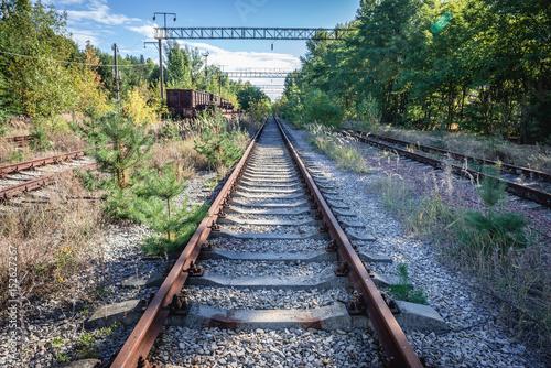 Desolate Yaniv railroad station near Pripyat city, Chernobyl Exclusion Zone, Ukraine