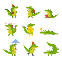 Cute Cartoon Crocodile In Every Day Activities, Colorful Characters Vector Illustrations