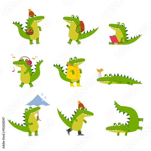 Cute cartoon crocodile in every day activities, colorful characters vector Illus Fototapet