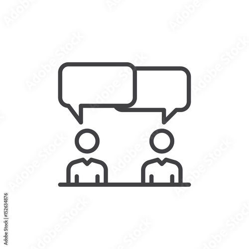 Photo Discussion, dispute line icon, outline vector sign, linear style pictogram isolated on white