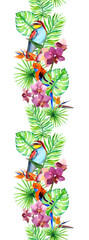 Tropical leaves, exotic bird, orchid flowers. Seamless border. Watercolor stripe