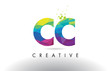 CC C C Colorful Letter Origami Triangles Design Vector.