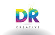 DR D R Colorful Letter Origami Triangles Design Vector.