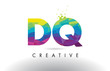DQ D Q Colorful Letter Origami Triangles Design Vector.