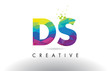 DS D S Colorful Letter Origami Triangles Design Vector.