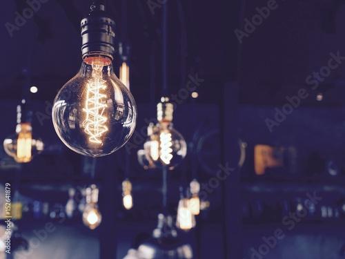 Light bulbs on beautiful background Canvas Print