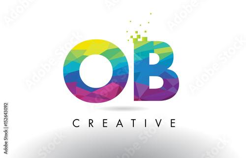 Fotomural  OB O B Colorful Letter Origami Triangles Design Vector.