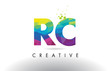 RC R C Colorful Letter Origami Triangles Design Vector.