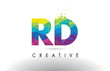 RD R D Colorful Letter Origami Triangles Design Vector.