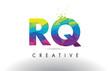 RQ R Q Colorful Letter Origami Triangles Design Vector.