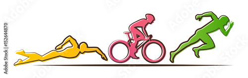 Vector illustration triathlon, flat design Wallpaper Mural