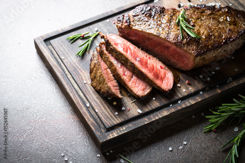 Grilled beef steak Canvas Print