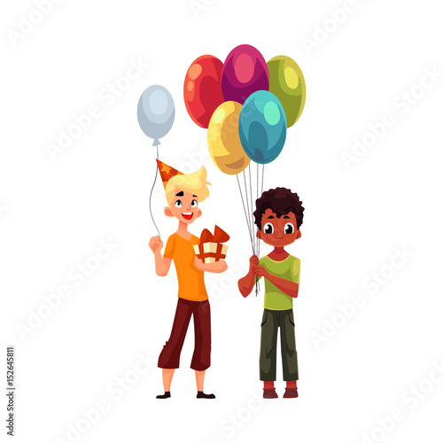 Black Little Boy With Balloons Caucasian Teenager Holding Birthday Gift Cartoon Vector Illustration Isolated On White Background Two Boys Kids At