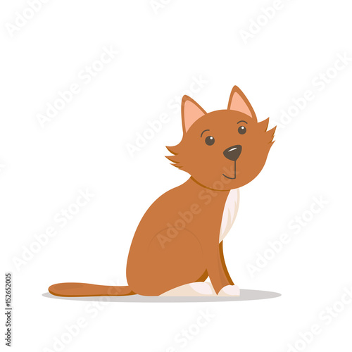 Poster de jardin Chambre bébé Cute, adorable little red cat, kitten sitting, side view cartoon illustration isolated on white background. Cartoon little red cat, kitten character, sitting, looking straight, side view illustration
