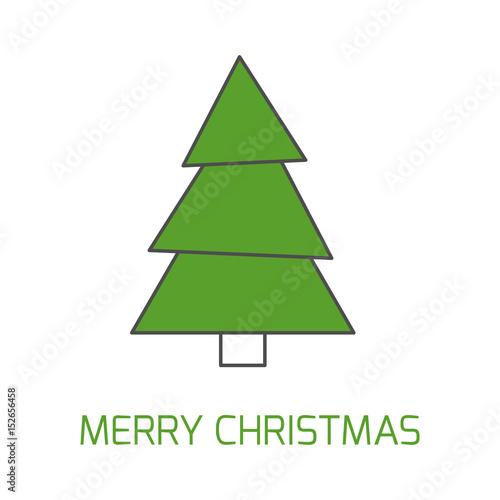 Simple Christmas Giftcard Template With Christmas Tree And Wish