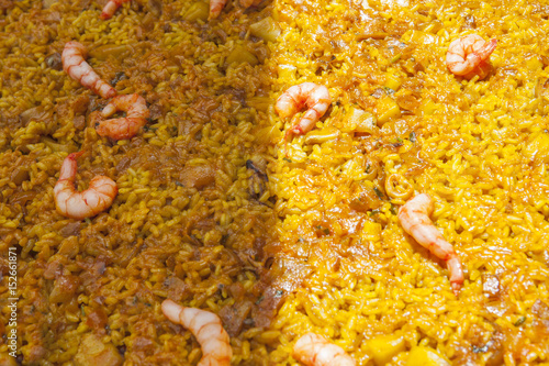 Arroz a Banda dish with partially on sun