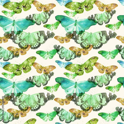 Watercolor pattern with the image of transparent butterflies in blue, green and ocherous colors on a beige background