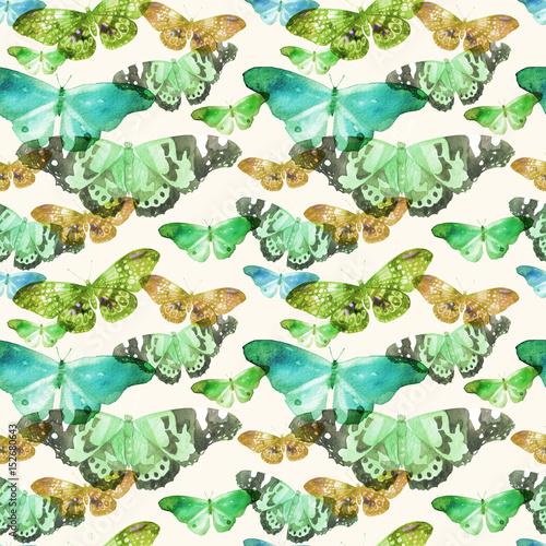 Akwarelowy Wzór Z Obrazem Przezroczystych Motylów W Niebieskim, Zielonym I Ochernym Kolorze Na Beżowym Tle