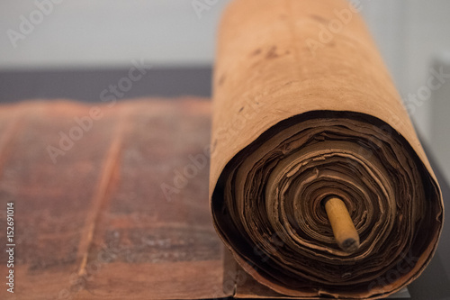 Fotografie, Obraz  old torah scroll book close up