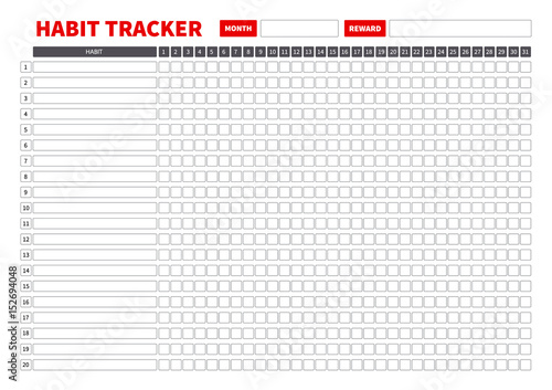 Stampa su Tela  Template habits tracker for a month. Vector Illustration